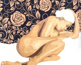 Fine Art Print** Mixed media marker drawing of a nude woman with rose background