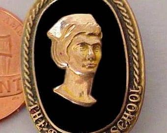 Rare Antique The Bryman School of Nursing Brooch 10K Gold Filled on Onyx Base