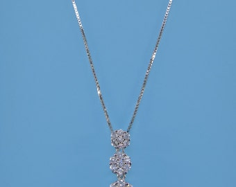 Flower pendant in silver 925 and cubic zirconia   woman