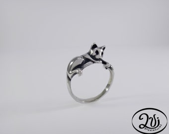 Silver cat ring 925 burnished