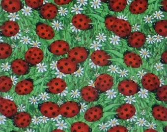 FANTASTIC SALE - Ladybugs and Flowers,Cotton Fabric, Quilt,by Timeless Treasures, Debi C1175Fast Shipping N307