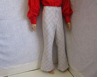 "70s 40"" x 34"" Mens Polyester Bell Bottom Pants Silver Gray Sparkle WeirdoWear"