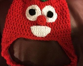 Handmade made to order crocheted veggie tale Bob the Tomato hat