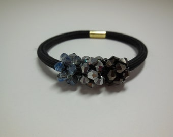 Glass Beads Crystal Pony Tail Holder Elastic Band