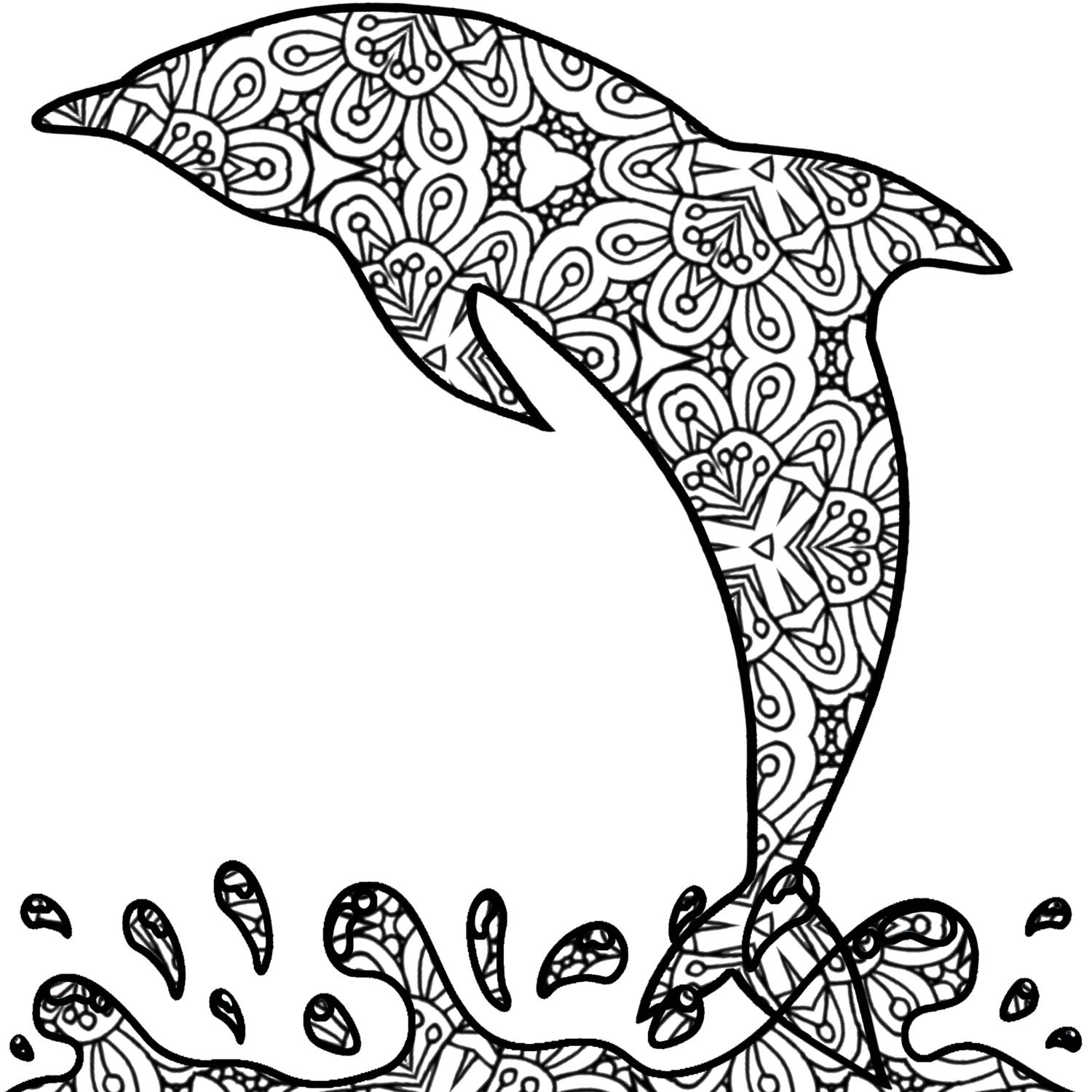 Dolphin Printable Detailed Pages For Adults Coloring Pages