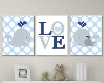 Baby Boy Nursery Art,  Love and Whale Nursery Art Print Set, Suits Blue and Gray Nursery Decor & Bedroom Decor- P302,303,304