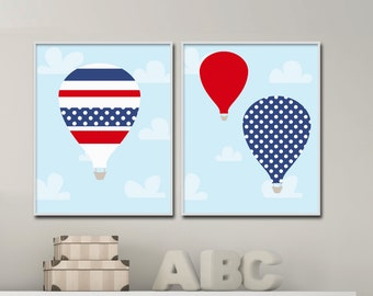 Baby Boy Nursery Art Prints, Hot Air Balloon Wall Art Prints, Suits Blue and Red Nursery Decor and Bedroom Decor-P326,327