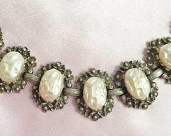 Romantic BAROQUE PEARLS On Ornate Gold BRACELET