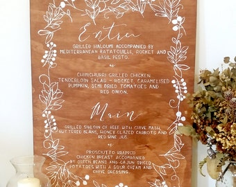 Wooden Sign // Wedding Menu