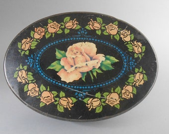 Vintage Mid Century Oval Rose Tin Sewing Box Sewing Tin