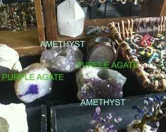 Agate Candle Holder/Brazilian Agate/Gemstone and Mineral Candles/Home Decor/Salt Candle Holders/Tea Light/Votive/Himalayan Salt votive