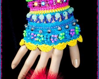 Rainbow Crochet Cuff Bracelet
