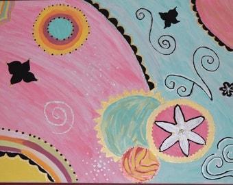 Circle and swirls mixed media acrylic painting artwork