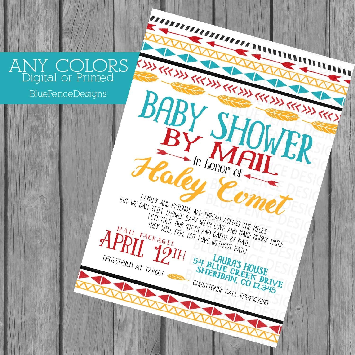 Across the Miles Baby Shower Invitation Baby Shower by Mail