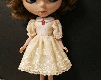 Blythe Doll Outfit Clothing Flower Print Yellow Lace Dress