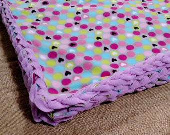 Purple Polka Dot Fleece Blanket