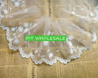 14cm Embroidery  tulle lace trim mesh embroidery lace trim foral lace 2 yards