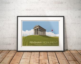 Penshaw Monument, Sunderland, Tyne and Wear, England, UK - travel poster print