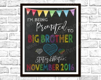 I'm Being Promoted To Big Brother Pregnancy Announcement Sign, For Big Brother Of An Angel Baby & A Rainbow Baby, Rainbow Pregnancy Reveal