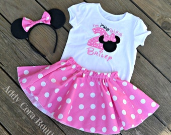 I'M TWODLES Red or Pink Minnie Mouse Outfit with Personalized Embroidered Shirt, Matching Skirt, & Mouse Ears Headband with Bow