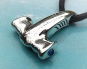 Hammerhead Shark Mjolnir Thor's Hammer necklace , silver and sapphire pendant.
