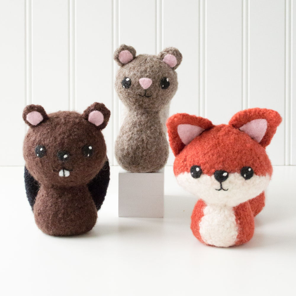 Knitting Patterns For Forest Animals : Backyard Critters 1 Felted Knitting Pattern - Knit Amigurumi Pattern - Beaver...