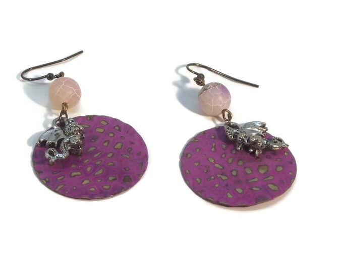 Hand Painted Purple Dragon Scales Dangle Earrings Nickle Free Ear Wires, Hypo Allergenic, OOAK, One of a kind.