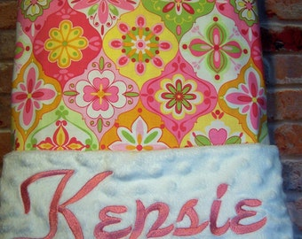 Personalized Baby Blanket Minky and Designer Cotton.