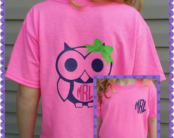 Short or Long Sleeved Monogrammed Owl T-Shirt with front Matching Monogram