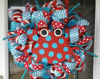 RTS! Turquoise & Red Polka Dot Crab Deco Mesh Wreath / Summer Deco Mesh Beach Wreath