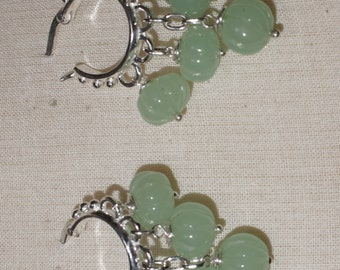 Soft green Chalcedony and sterling silver earrings.