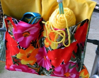 Red-Yellow-Pink Flower Walker Caddy-3 Pocket Walker Bag-Grocery Cart Handle Bar Organizer -Stroller Caddy-Bed Rail Organizer-Everything Bag