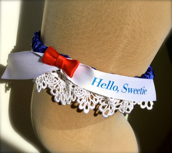 Dr Who Hello Sweetie Wedding Garter // Tardis By