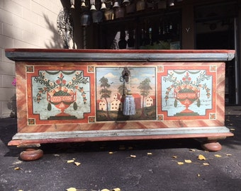 German Painted  Wedding Chest Trunk