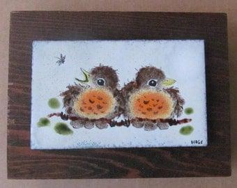 "Original Metal Art Handmade & Handpainted Untitled ""Two Birds"" Recycled Metal Framed Signed by Artist Dodge"