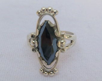 Silver Sterling Ring with Hematite Classic Setting- Size 6.5- as it is