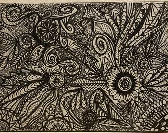 Zentangle, zentangle painting, zentangle art, canvas zentangle, canvas painting, abstract painting, abstract zentangle, black and grey zen