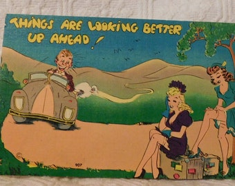 Vintage Things Are Looking Better Up Ahead! Comic Postcard