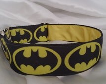 Handmade House Dog Collar-Black & Yellow Superhero