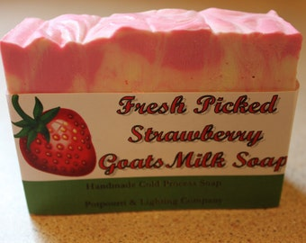 Fresh Picked Strawberry Goat's Milk Handmade Cold Process Soap