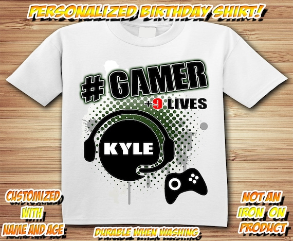 GAMER BIRTHDAY SHIRT (with age/name) Video Game Party Shirt