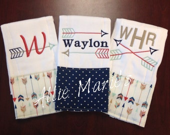 Baby Burp Cloths, Custom Baby Burp Cloths, Personalized Baby burp cloths, Monogrammed Burp Cloths, Burp Cloth Sets