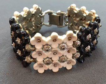 Very Vintage Retro Black and White Coro Bracelet-Rare!  Free shipping