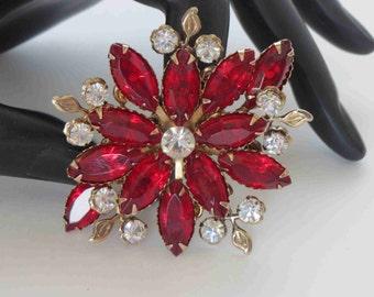 Siam Navette & Crystal Vintage Brooch