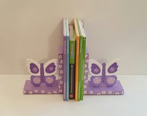 Bookends Wood Purple Lavender Butteflies Childrens Bookends Toddler Fox Wood Personalized Wood Bookends Green