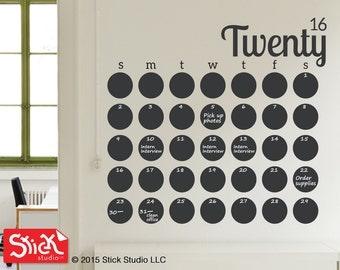 2017 Calendar Wall Decal, Chalkboard Calendar Decal, Blackboard Calendar Wall Sticker, Chalkboard Wall Calendar Decal, 2017 Wall Calendar