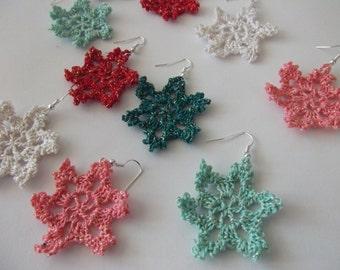 Set of 3 pair crocheted earrings Christmas jewelry Snowflakes earrings NEW