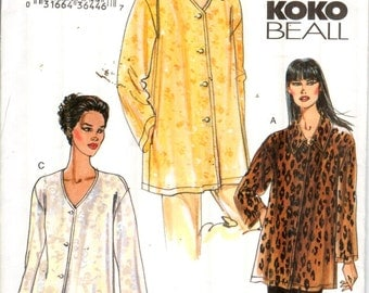 """Vogue 7725, Sz 8-12/Bust 31.5-34"""". Very EASY Very Vogue Ladies Vneck Tunic/Oversized Shirt, 3 looks in this OOP pattern by KoKo Beall, UNCUT"""