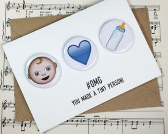 New Baby Boy Emoji Fridge Magnet Greetings Card. #OMG You made a tiny person!