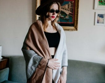 Brown Grey White Shawl Cover Up